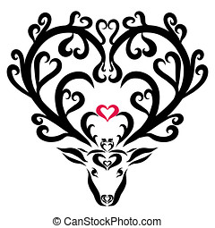Beautiful fairy deer with hearts and flowers on horns