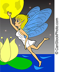 fairy - beautiful fairy flies in the night