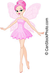 Beautiful fairy - Illustration of a beautiful pink  fairy