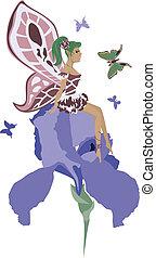 beautiful fairy sitting on an iris
