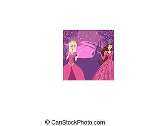Beautiful fairy with magic wand in the night