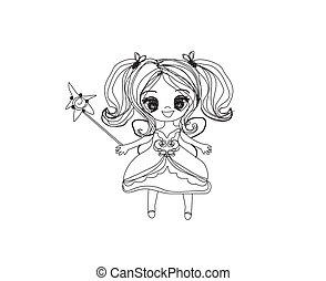 beautiful fairy with magic wand doodle illustration