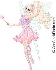Beautiful fairy with magic wand. Vector illustration...