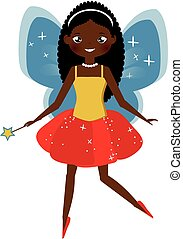 Beautiful fairy with magic wand. Winged elf princess. Cartoon style, african american fairy character