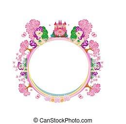 Beautiful fairytale castle and cute unicorns - frame