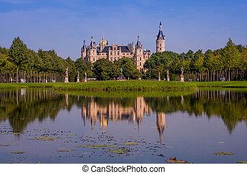 Beautiful fairytale castle in Schwerin on a summer day
