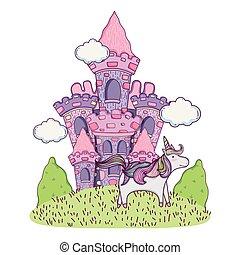 beautiful fairytale castle in the field with unicorn