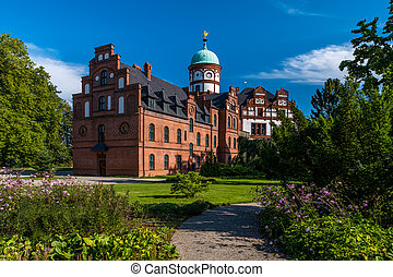 Beautiful fairytale castle of Wiligrad on a summer day