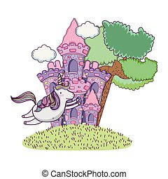 beautiful fairytale castle with unicorn in the landscape