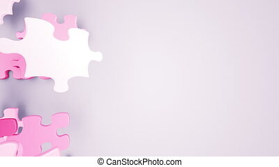 Beautiful Falling Puzzle Pieces Blue and Pink Colors on the...