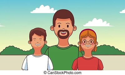 Beautiful family cartoons HD animation