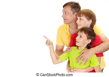 Beautiful family in bright T-shirts