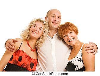 Beautiful family isolated on white background