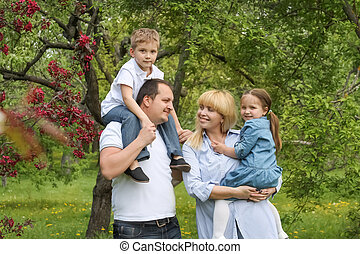 Beautiful family with two children