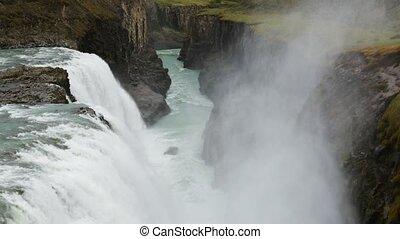 Beautiful famous Gullfoss waterfall, Iceland. - Beautiful...