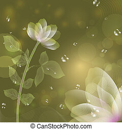 Beautiful fantasy flower green background.