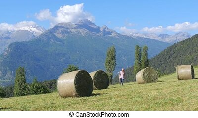 beautiful farm girl with pitchfork - farm girl and hay bale...