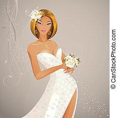 Beautiful fashion bride with festive bouquet