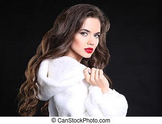 Beautiful Fashion brunette Girl portrait in white Mink Fur Coat