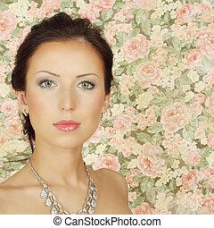Beautiful fashion girl with summer makeup