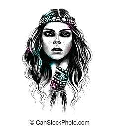 Beautiful Fashion girl with the jewelry