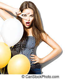 Beautiful fashion model girl with colorful balloons posing isolated on white