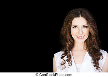 Beautiful fashion model girl with brunette hair. Portrait of glamour woman  isolated on black background.