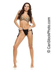 fashion model in black bikini - Beautiful fashion model in...