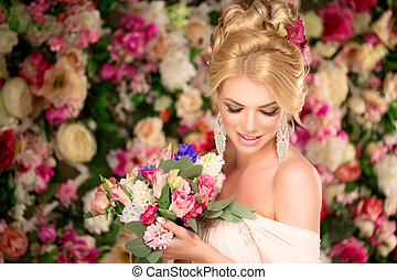 Beautiful fashion model. Sensual bride. Woman with wedding...