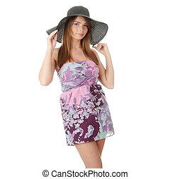 Beautiful Fashion Model Wearing A Retro Summer Hat