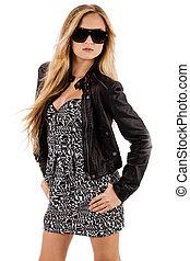 Beautiful fashion model wearing long dress