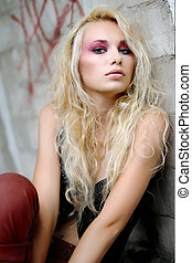 beautiful fashion model with bright makeup