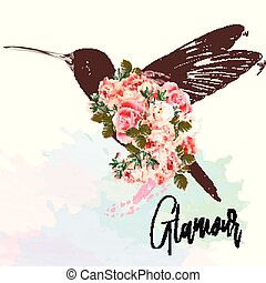 Beautiful fashion vector illustration with pink hummingbird and roses. Glamour.eps