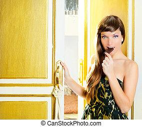 beautiful fashion woman eating chocolate