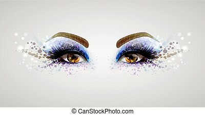 woman eyes - Beautiful fashion woman eyes forming by blots