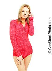 Beautiful fashion woman in red