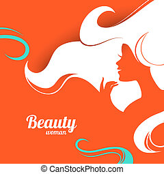 Beautiful fashion woman silhouette. Paper design