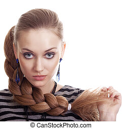Beautiful Fashion Woman With Beautiful Braid Hair Isolated