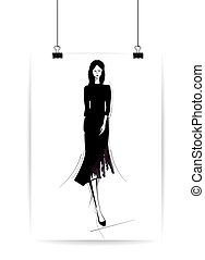 Beautiful fashion women in sketch style. Vector illustration, EPS10