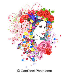 beautiful fashion young woman with flowers in hair. portrait of