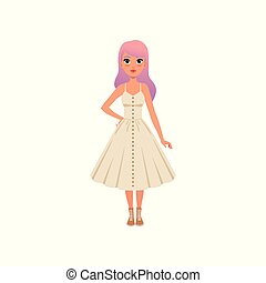 Beautiful fashion young woman with long pink dyed hair, stylish girl in white dress vector Illustration on a white background