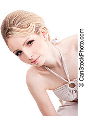 beautiful fashionable blonde woman isolated on white