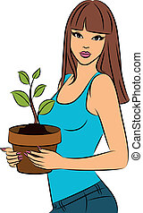 girl with a plant in a pot