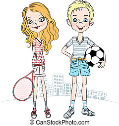 beautiful fashionable girl with a tennis racket and sports boy with soccer ball
