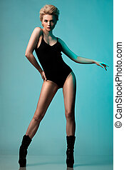 beautiful fashionable woman in black underwear