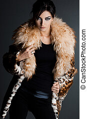 beautiful fashionable woman in fur coat