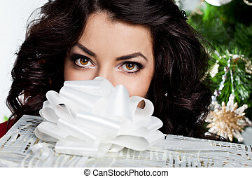 beautiful fashionable woman with gift boxes