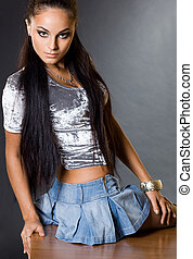 beautiful fashionable woman with long hair