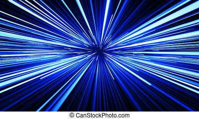 Beautiful Fast Space Travel Through Stars Trails Blue Color. Abstract Hyperspace Jump in Ubiverse. Digital Design Concept. Looped 3d Animation of Glowing Lines 4k Ultra HD 3840x2160.