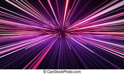 Beautiful Fast Space Travel Through Stars Trails Pink-Blue...